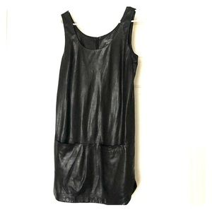 Vince 100% real black leather tank dress